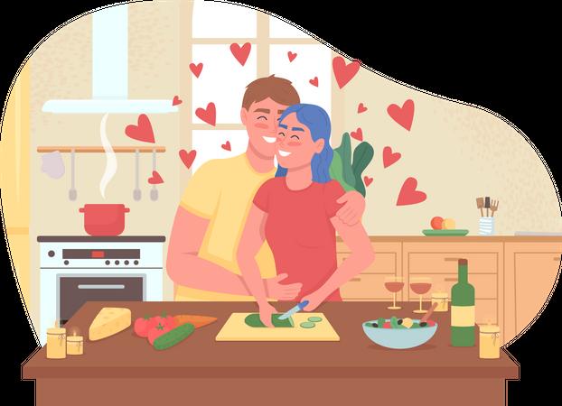 Couple cooking romantic dinner Illustration