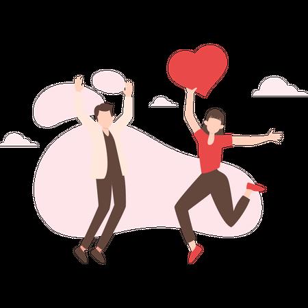 Couple dancing on valentine Illustration