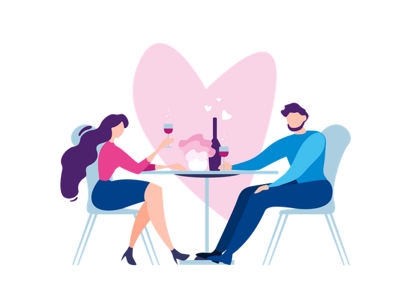 Couple dating and having drink at restaurant Illustration