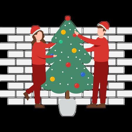 Couple decorating Christmas tree Illustration