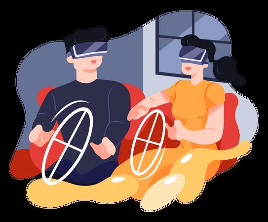 Couple do Virtual Driving Illustration