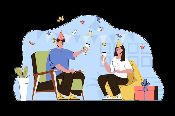 Couple doing birthday party Illustration