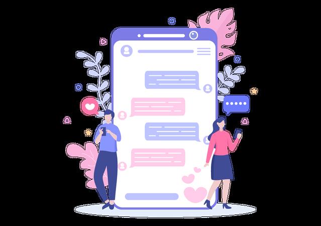 Couple doing chatting on dating app Illustration