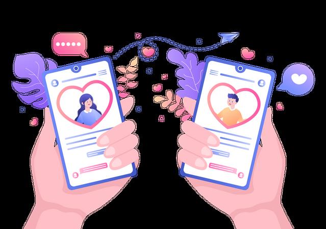 Couple doing conversation on dating app Illustration