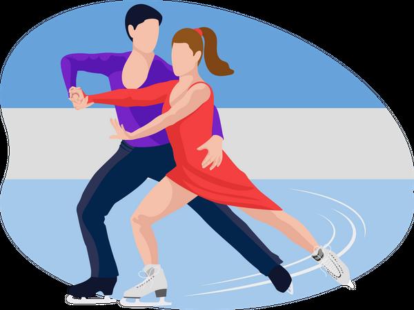 Couple doing figure skating Illustration