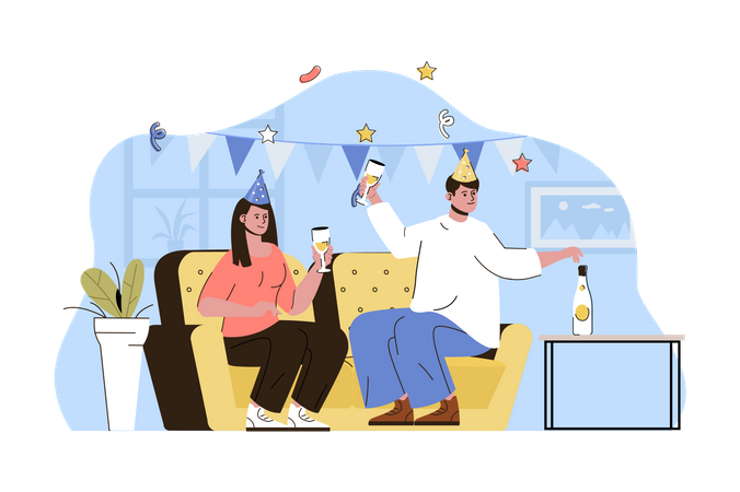 Couple doing house birthday party Illustration