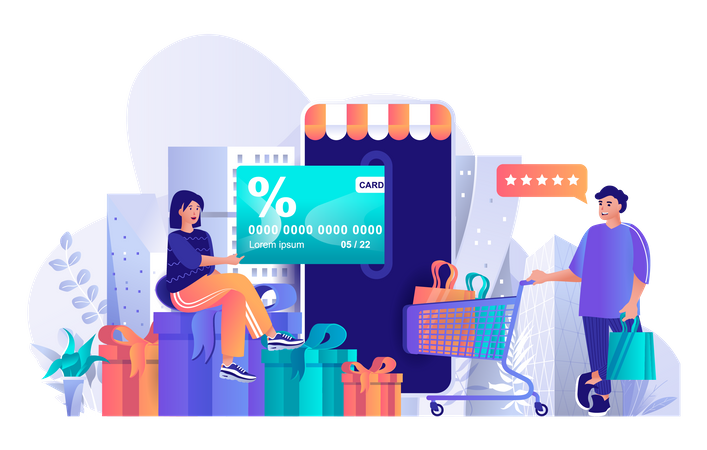 Couple doing online payment using card Illustration