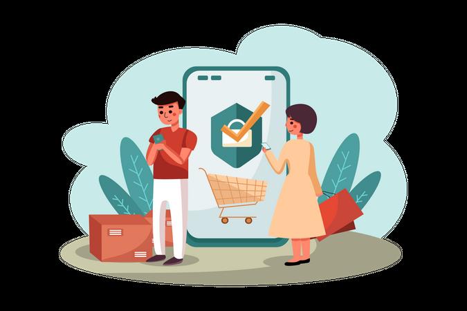 Couple doing online shopping Illustration