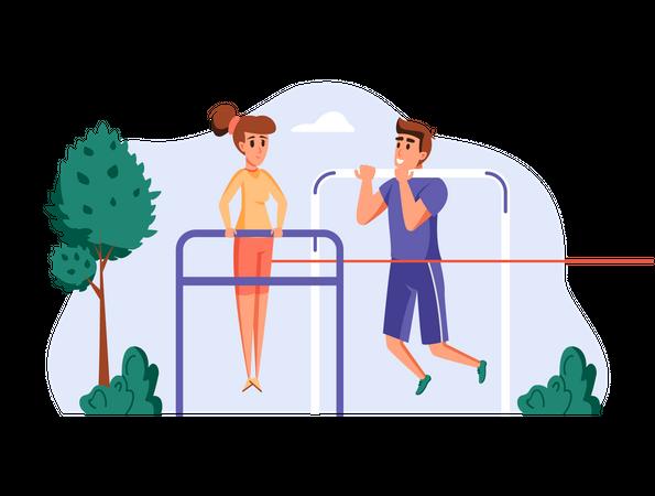 Couple doing pullups in park Illustration