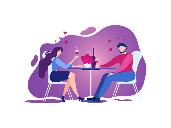 Couple doing Romantic date celebration with wine at Restaurant Illustration