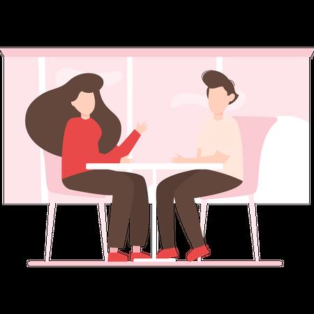 Couple doing romantic dinner Illustration
