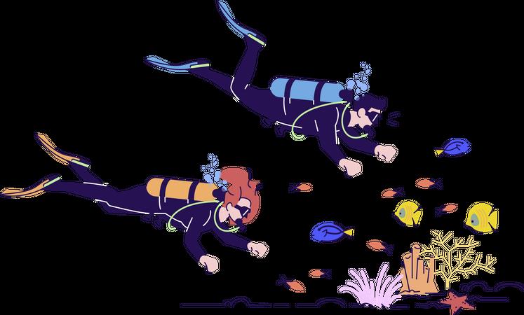 Couple Doing Scuba Diving Illustration