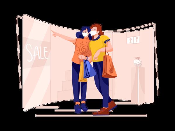 Couple doing shopping Illustration