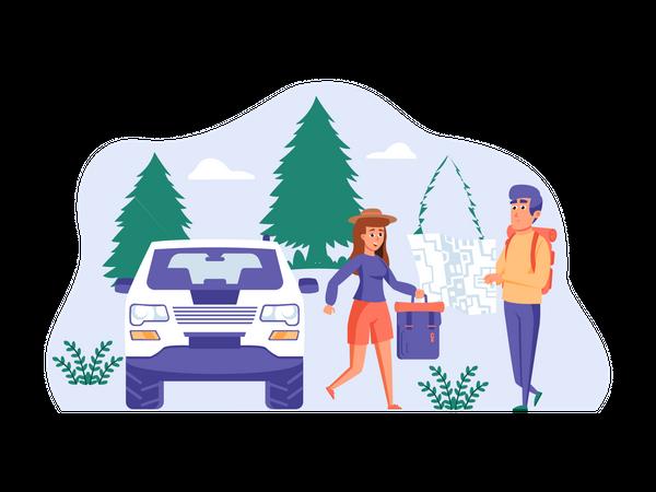 Couple doing travel planning Illustration