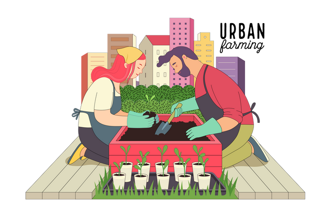 Couple doing Urban farming and gardening Illustration