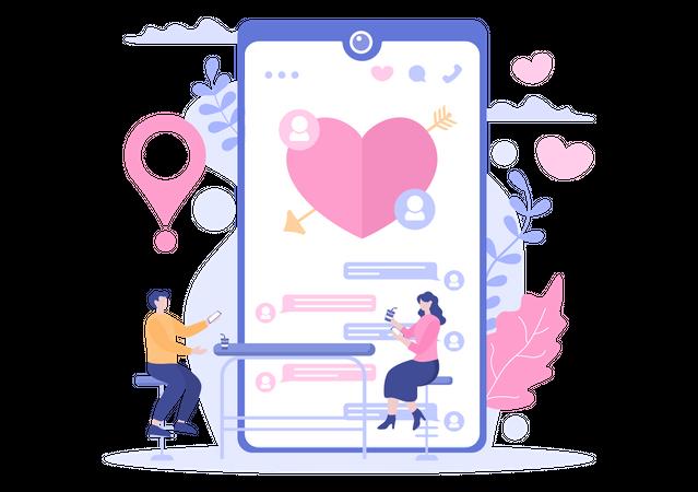 Couple doing virtual date Illustration