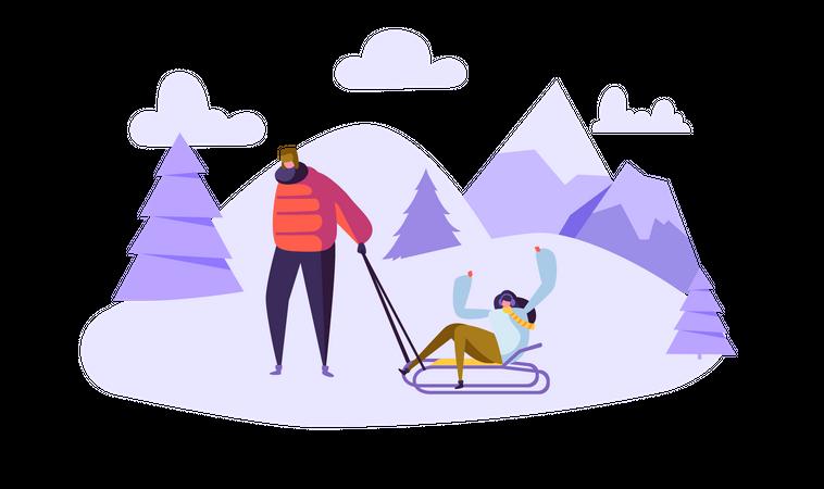 Couple doing winter activity Illustration
