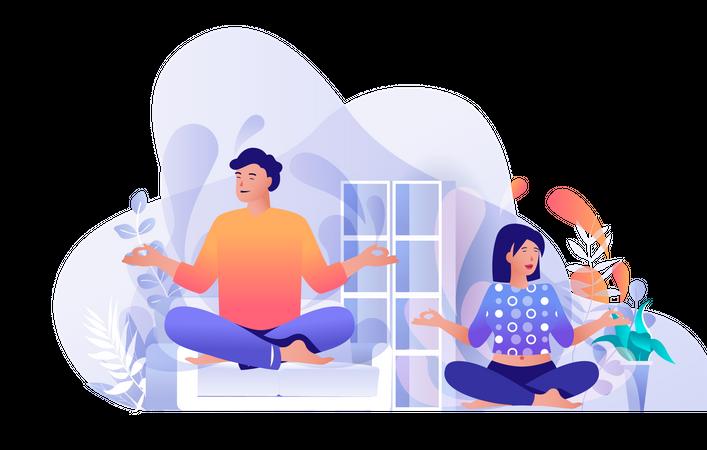 Couple doing yoga at home Illustration