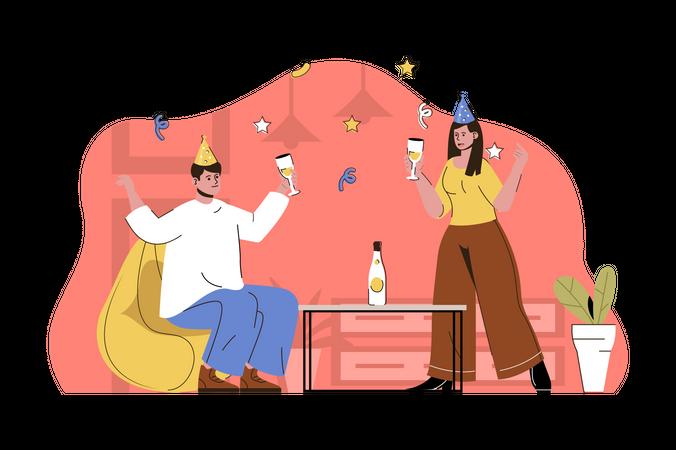 Couple drinking champagne Illustration