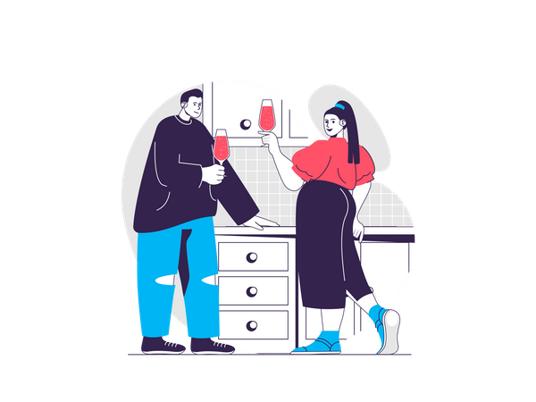 Couple drinking champagne in party Illustration