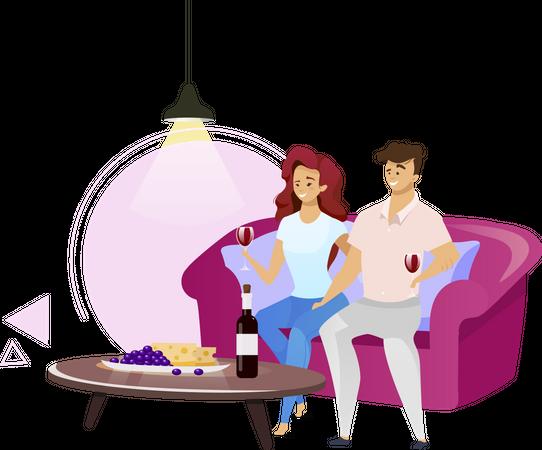 Couple drinking red wine Illustration