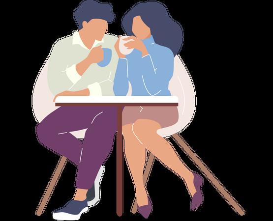 Couple drinking tea Illustration