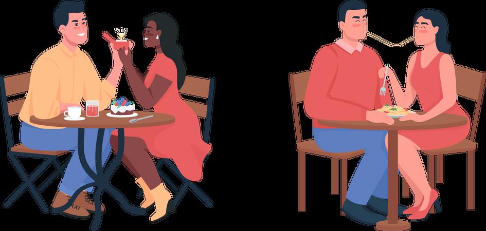 Couple during romantic dinner date Illustration