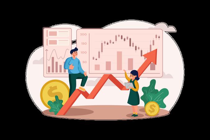Couple earning profits from the stock market Illustration