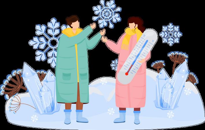 Couple enjoy snow weather Illustration
