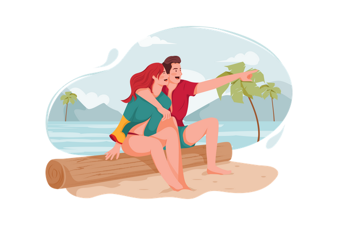 Couple enjoying at beach Illustration