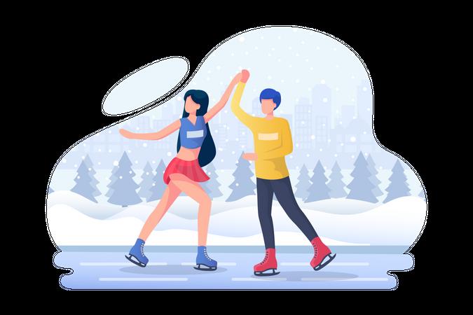 Couple enjoying dance during ice skating Illustration
