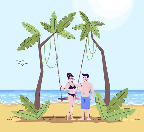 Couple enjoying on beach Illustration