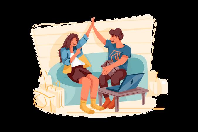 Couple Enjoying Online Shopping Illustration