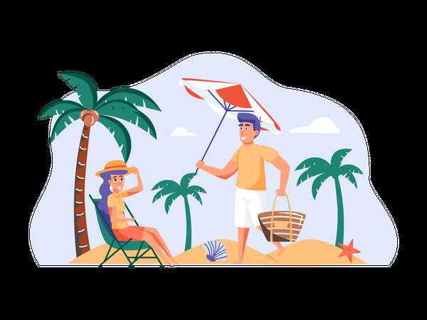 Couple enjoying vacation Illustration