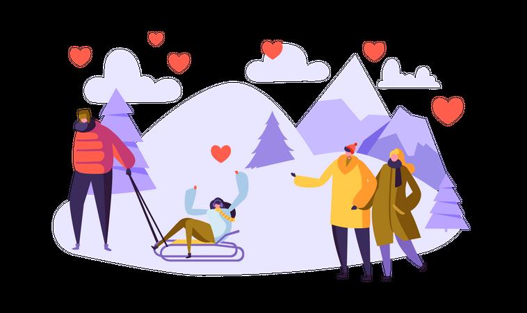 Couple enjoying winter break Illustration