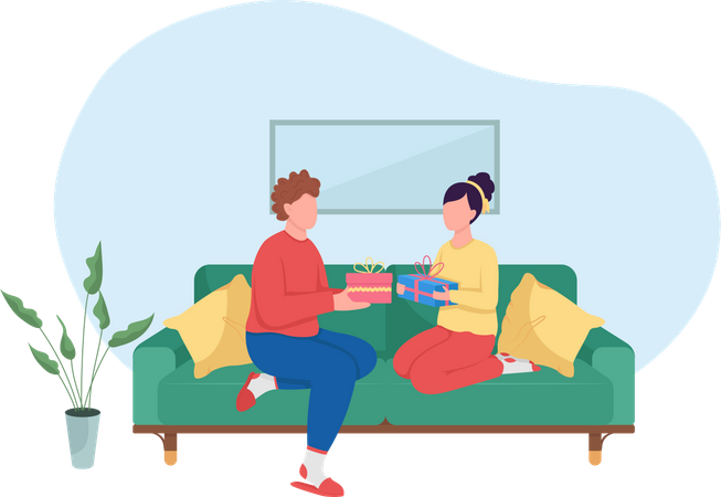 Couple exchanging gifts Illustration