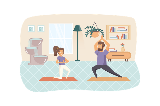 Couple exercising and practicing yoga asanas at home Illustration