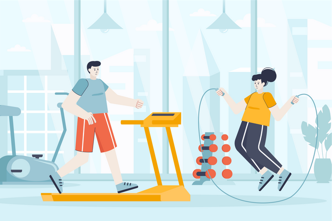 Couple exercising in sports club Illustration