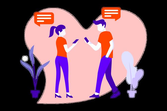 Couple Flat Illustration Illustration