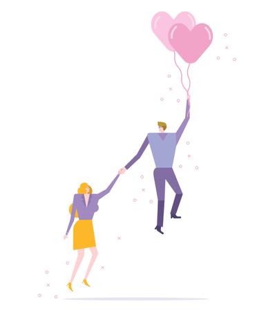 Couple flying with balloon heart Illustration