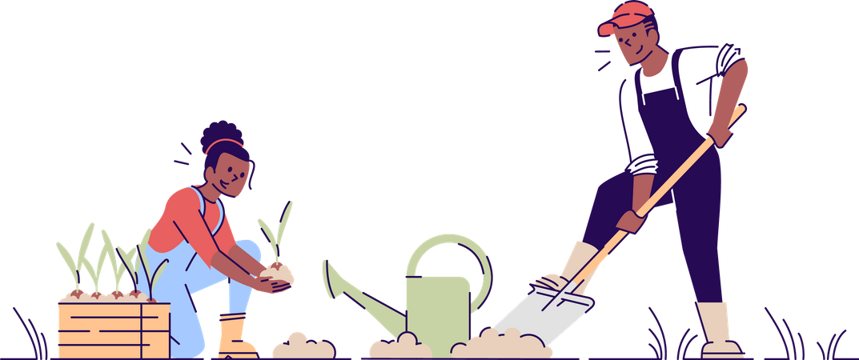 Couple gardening together Illustration