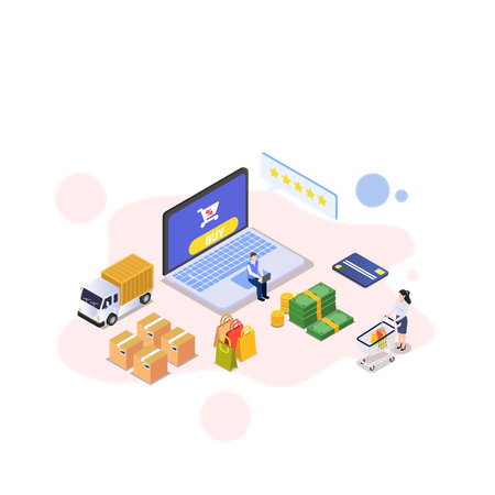 Couple getting delivery and giving delivery rating Illustration