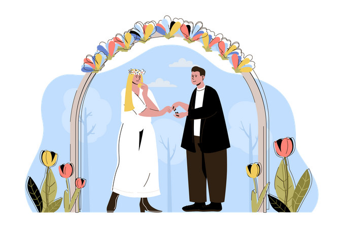Couple getting married at a beautiful ceremony Illustration