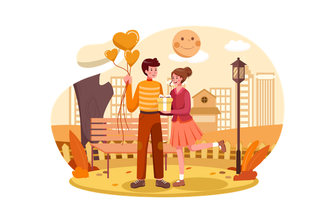 Couple giving presents on Valentines Day in the Park Illustration