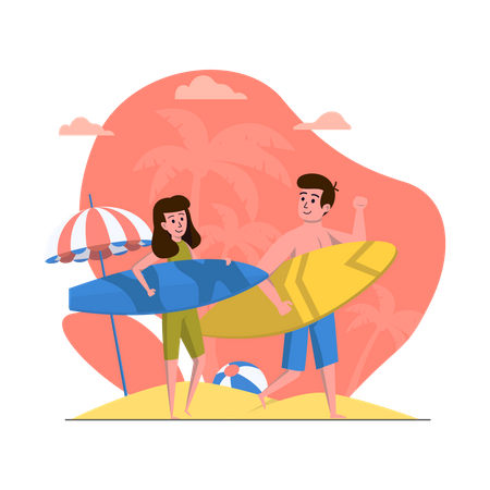 Couple going for surfing Illustration