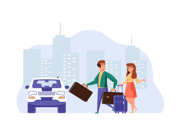Couple going on vacation Illustration