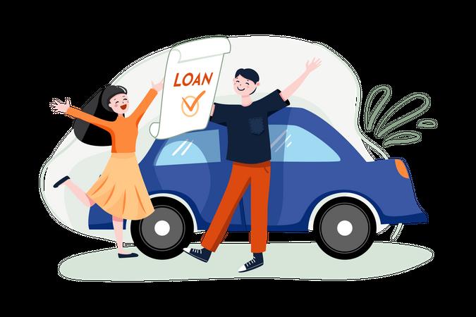 Couple got car loan approved Illustration