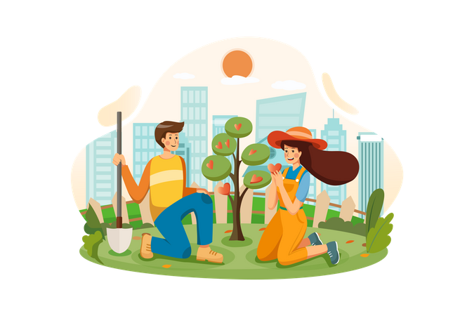 Couple growing the tree of love together in the garden Illustration