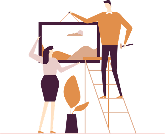 Couple hanging a picture Illustration