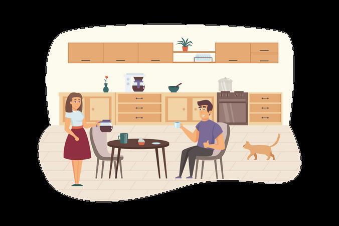 Couple having breakfast in kitchen Illustration